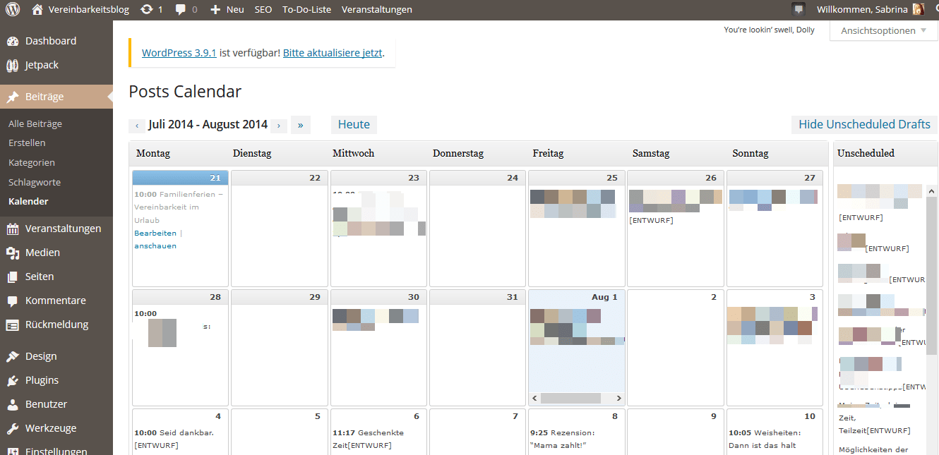 WordPress Editorial Calender