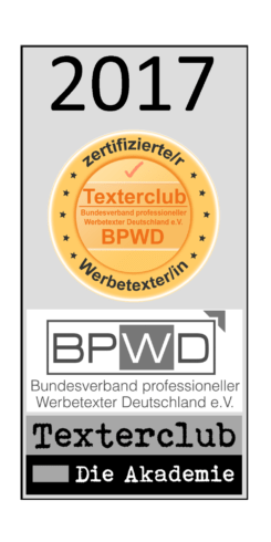 Werbetexter, Online Redaktion Texterclub-Siegel-2017
